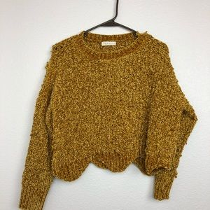Promesa mustard yellow chenille cropped sweater